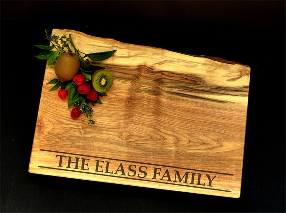 Live Edge Personalized Cutting Board  - Maple Cutting Board - Wedding Board - Anniversary Board - Family Gift - Custom Cheese Board