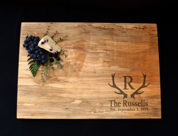 Personalized Cutting Board Xlarge Spalted Maple Cutting Board 24x14 Antler Cutting Board Rustic Deer