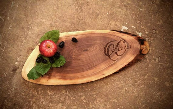 Personalized Cheese Board made from locally source Walnut and naturally rustic - perfect for tapas, charcuterie, and your favorite cheese