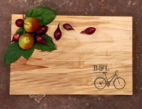 Personalized Cutting Board - Bicycle Wedding Cutting Board - Anniversary Cutting Board - Cycling Couple Cutting Board