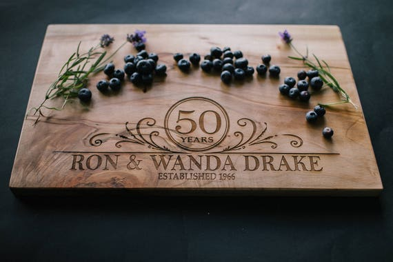 Personalized Maple Cutting Board with Anniversary Design