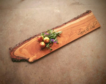 XLarge Personalized Cutting Board *One of A Kind* Cherry - 42 inch long w/Feet & Wood Butter - Personalized Charcuterie Board