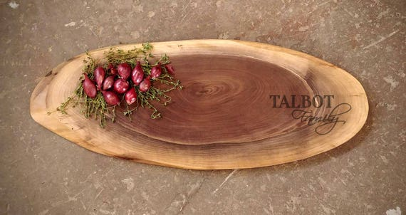 FREE SHIPPING Xlarge Personalized Cheese Board 30X10 inches -  Live Edge Walnut Cutting Board w/Feet & Wood Butter  - Wedding or Anniversary