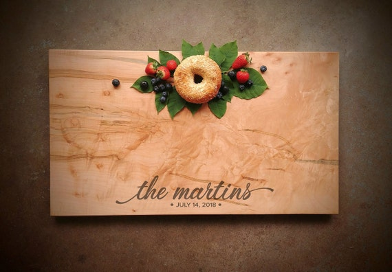 Large Personalized Cutting Board - Bird's Eye Maple w/Feet & Wood Butter - Personalized Cheese Board - Wedding Cutting Board