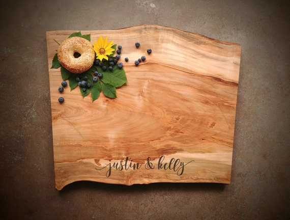Personalized Cutting Board - Large Live Edge *One of A Kind* Maple Cutting Board - Gift for Couple - Wedding Cutting Board
