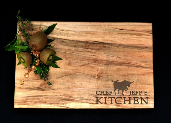 Personalized Cutting Board Spalted Maple by OSOhome Serving Tray Custom Cutting Board Bull Texas Chef Anniversary Gourmet Rustic Charcuterie