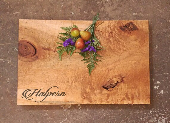 One of A Kind Personalized Curly Maple Cutting Board