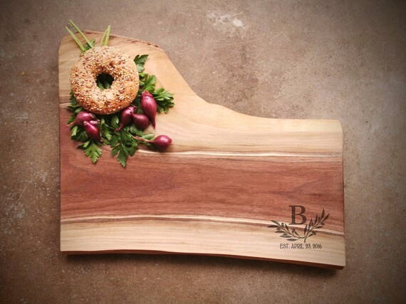 Black Walnut Live Edge Personalized Cheese Board