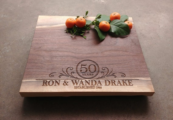 50th Wedding Anniversary Gift - Personalized Cutting Board Walnut - 25th Anniversary Gift - 5th Anniversary Gift - 5th Anniversary Gift
