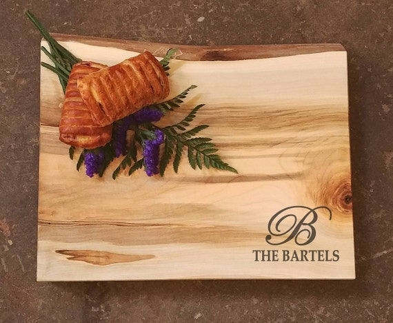 Thick Personalized Cutting Board Live Edge Maple w/Feet - Wedding Gift - Personalized Cheese Board - Personalized Charcuterie Board