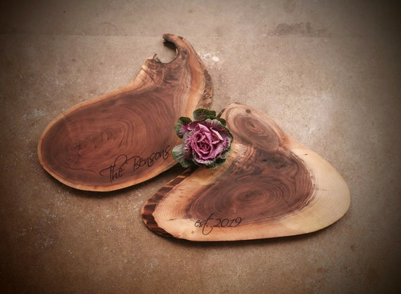 Pair of Live Edge Walnut Charcuterie Board - Personalized Cheese Boards - #G10D1019