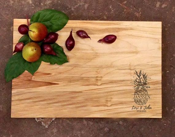 Personalized Cutting Board - Pineapple Wedding Cutting Board - Maple Cutting Board - Anniversary Cutting Board - Pineapple Gift for Couple