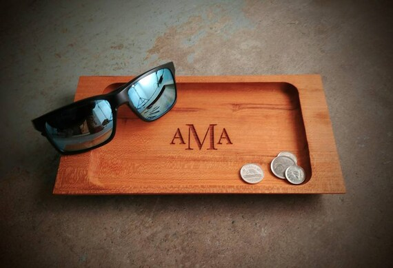 Solid Wood Valet Tray with Classic Monogram