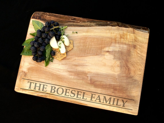 Personalized Cutting Board - Live Edge Maple w/Feet - Wedding Cutting Board - Custom Cutting Board - Anniversary Gift