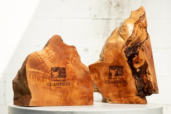 Handmade Eco-friendly Awards made from Willow Burl - Quotes available upon request