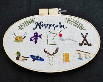 Minnesota Embroidery Hoop Art