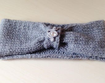 Handmade wool band with soutaches application and original Swarovski (grey)//fascia hair//gift for you//fashion accessories
