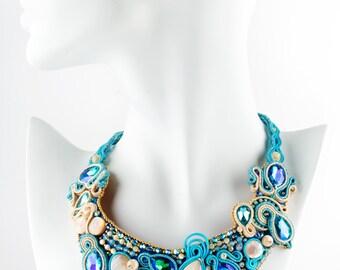 Handmade necklace//Soutache with high quality webbing//crystals//original Swarovski//Unique necklace//original//ceremony//Elegant