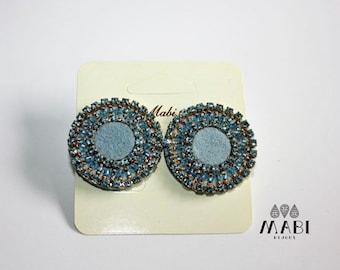 Button earrings/Earrings/earrings/handmade/embroidery/she/gift/craft/elegant/Swarovski /handmade/