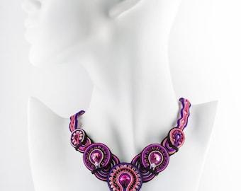 Handmade necklace//soutache//high-quality fettucce//original swarovski.///Pendant natural stone///ceremony necklace//elegant//her
