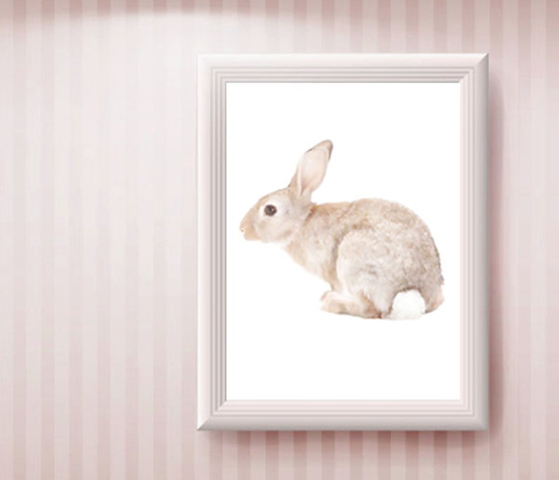 Natural Colors Printable Animal Poster Rabbit Art Instant Download Kids Nursery Wall Art Neutral