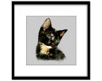 Black Kitten Painting, Cat Art Instant Download, 8x8 inch Printable Poster, Cat Lovers Art, Nursery Art