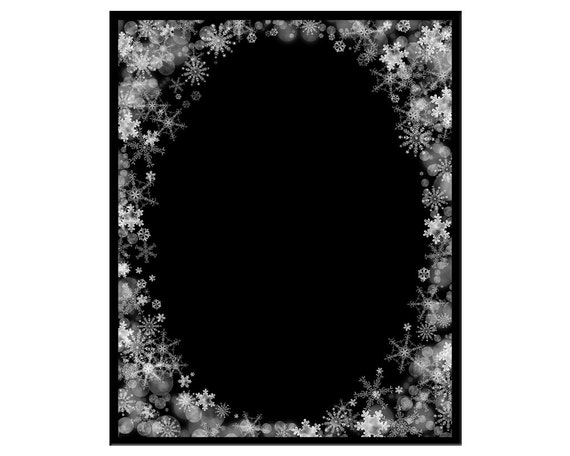 Snowflake and Bokeh Frame, Delicate Christmas Background, Photoshop PNG  Overlay for Portraits, Xmas, Crafting, Scrapbooking
