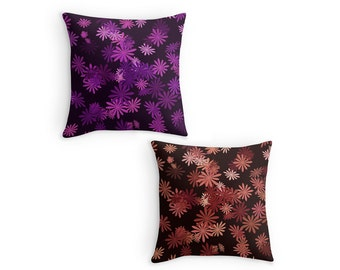 Colourful Daisy Scatter Cushion, Flower Print Throw Pillow, 16x16 18x18 20x20, Home Decor, Cushion Cover