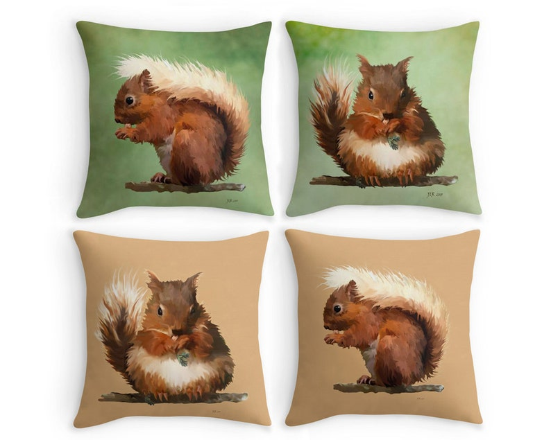 Red Squirrel Throw Pillow Garden Wildlife Scatter Cushion Etsy