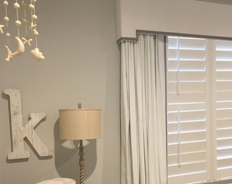 Cornice Board Nursery Valance Window Treatment | Ribbon Trimmed Valance Cornice | Gray White Nursery Window Cornices by Designer Homes