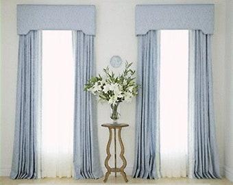 Cornice Board Valance Window Treatment | Cornice Valance | Window Pelmet | Window Cornice and Pinch Pleat Drapes by Designer Homes
