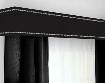Custom Cornice Board Pelmet Box Window Treatment In Black With Silver Nailhead Trim