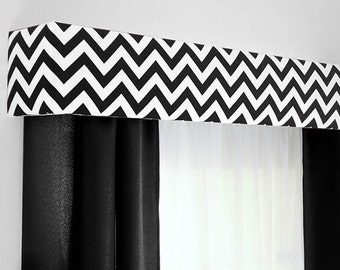 Black White Chevron Cornice Board Valance Window Treatment