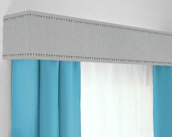 Custom Cornice Board Pelmet Box Window Treatment In Grey With Silver Nailhead Trim