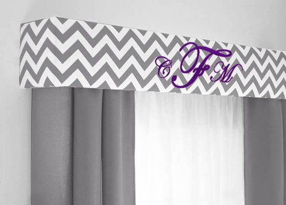 Custom Monogram Cornice Board In Gray Chevron Fabric