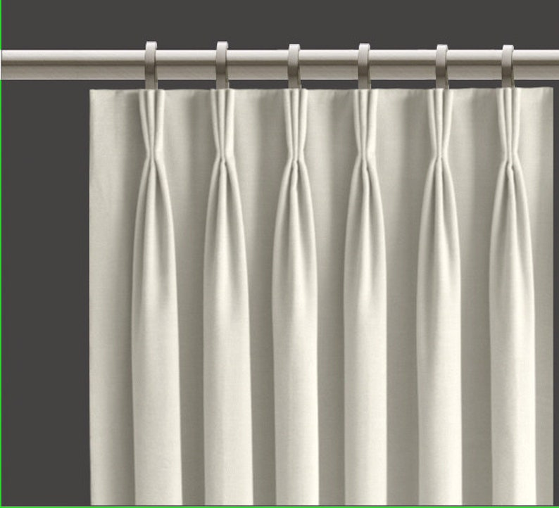 White Pinch Pleat Curtains Cotton Lined Set Of 2 Fan Pleat