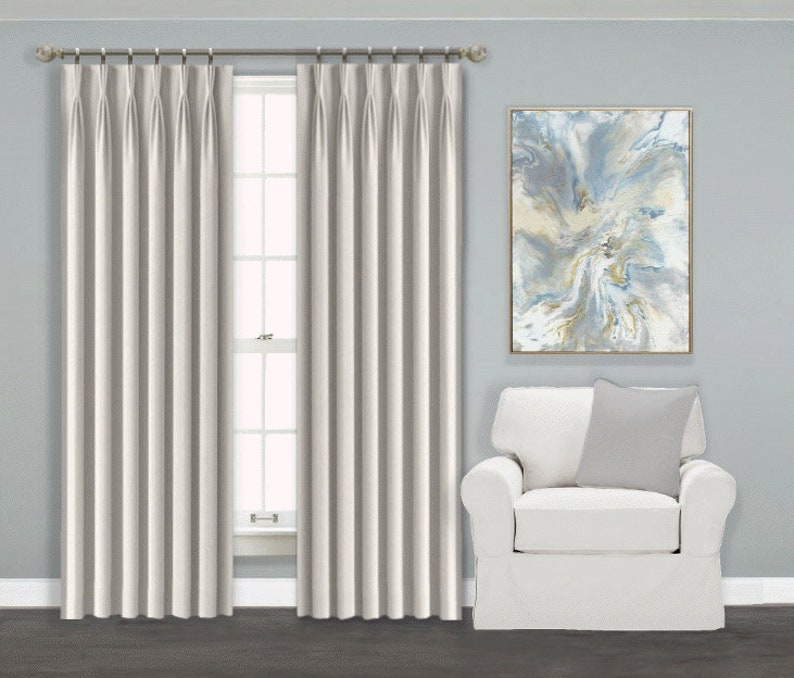Pinch Pleat Curtains Blackout Lined Set Of 2 Fan Pleat Etsy