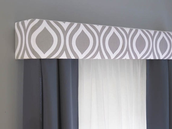 Gray Cornice Board Valance Window Treatment Custom Curtain