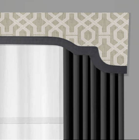 e0527909a Window Pelmet Cornice Board | Cornices by Designer Homes | Property  Brother's Nasco Pewter Luxe Linen with Flamingo Gray Trim