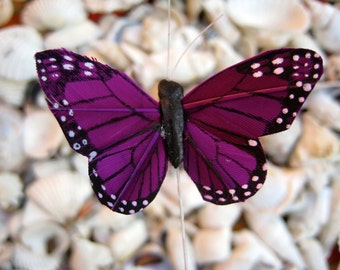 Purple Monarch Butterfilies - 12 feather butterfly - Small 2 inch wide - wedding bridal baby shower party