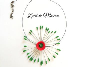 amazing red and Green Flower necklace