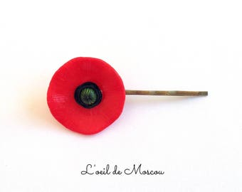red poppy hair pin Barrette