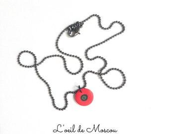 poppy pendant, gun metal chain