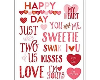 American Crafts 378451 Rub Ons Valentine's Embellishments Phrase Rub Ons