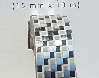 Little B - Decorative Paper Tape - Silver Foil Squares - 15mm
