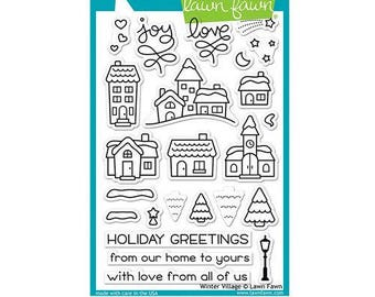 Lawn Fawn - Christmas - Clear Acrylic Stamps - Winter Village