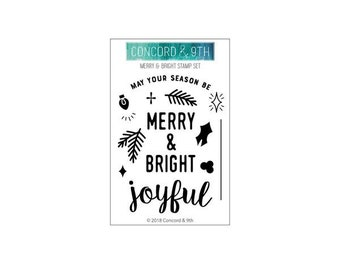 Concord and 9th - Christmas - Clear Photopolymer Stamps - Merry and Bright