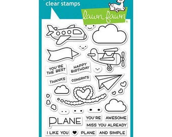 Lawn Fawn - Clear Acrylic Stamps - Plane and Simple