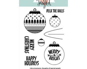 Neat and Tangled - Christmas - Clear Acrylic Stamps - Happy Ornaments  Clearance