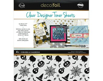 Therm O Web - iCraft - Halloween - Deco Foil - 8.5 x 11 - Clear Designer Toner Sheets - Cobwebs and Cauldrons